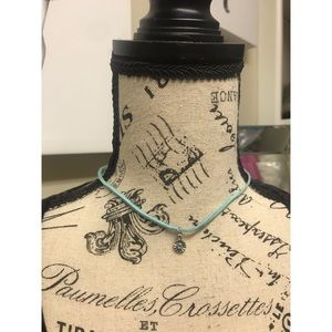 Blue Choker Style Necklace with Flower Charm